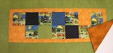 """Hand Quilted HALLOWEEN HAUNTED HOUSE, BLACK CATS Table Runner 17"""" x 36"""""""