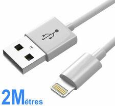 CABLE POUR IPHONE X 8 7 6 5 S SE PLUS IPOD IPAD CHARGEUR USB RENFORCÉ BLANC 2M