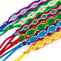 lot of 6 Lucky Woven Braided Friendship Cords Cuff Bracelet Anklets Wristband