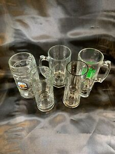 Set of 5 Mugs Lot Clear Glass Stein Tall Beer mismatched lot e727