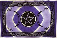 "* Purple Triple Moon Pentacle Tapestry Blanket 72 x 108"" Wicca Pagan Altar WTTPP"