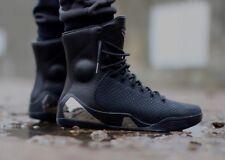 Nike Kobe 9 IX KRM EXT QS Elite Triple Black High Boots Chrome Platinum Sz 8.5