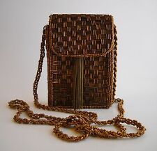 Bronze Brown Beaded Cell Phone Carry Case Shoulder Evening Bag Handmade Purse