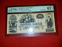 1850's~ $20 CANAL BANK~PMG 67EPQ~ Superb Gem New~ Haxby 105-G36a~Awesome!