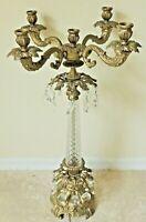 """Large Antique/Vtg 34"""" Ornate 5 Arm Gold Metal Cut Crystal Prism Candelabra #5975"""