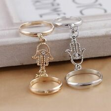 Chain Ring With Evil Eye Fatima Finger Crystal Double Link Ring Opening