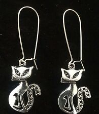 Long Elegant Silver Cat with Bow Earrings Hypoallergenic