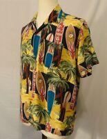 Pineapple Connection Vintage Men's Medium Surf Board Hawaiian Button Up Shirt