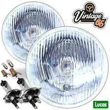 "Genuine Lucas 5.75"" 5&3/4"" H4 Halogen Headlamps Headlights Conversion + Pilot"