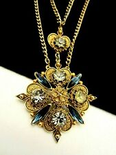 "Rare Vintage 24""x3"" Signed Florenza Goldtone Blue Gray Rhinestone Necklace A59"