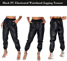 Women's PU Leather Wet Look Elasticated Waistband & Hem Jogging Bottoms S to XL