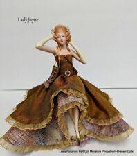 Porcelain Half Doll w/LEGS, Miniature Doll, Boudoir Collectible Doll, Hand made.
