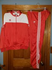 Adidas Men's Track Suit 2 Piece Jacket Pants XL RED vintage Thunderbird