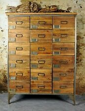 Vintage Style Wooden Rustic Industrial Eighteen Drawer Apothecary Chest Drawers