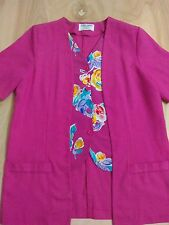 Women's Alfred Dunner Pink Floral Mock DUO Top Blouse Size 10P