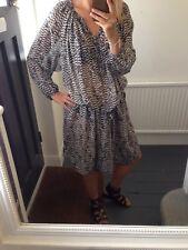 Isabel Marant For H&M Silk Printed Tunic Dress Luxury Boho Style Size 12-16
