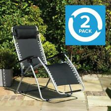 Wido Set of 2 GRAVITY CHAIRS RECLINING SUN LOUNGERS OUTDOOR GARDEN PATIO