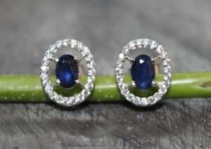Blue Sapphire Ear Studs 4x6 mm Oval blue studs Natural sapphire Silver Earrings