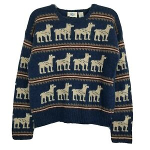 Vintage Pasta Pullover Sweater Womens Medium Blue Multi Llama 100% Shetland Wool