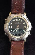 Vintage Field & Stream Men's Wristwatch Black Round Face Brown Leather Band Dive