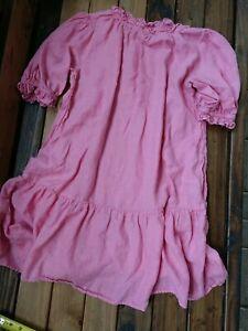 Anthropologie (S-M) Velvet Graham & Spencer pink Linen Shift Dress