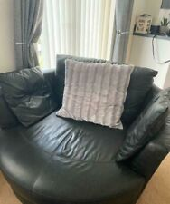 Black leather cuddler chairs