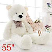55'' Big White Teddy Bear Case Bow Cuddly Soft Plush Animal Toy Dolls Gifts US