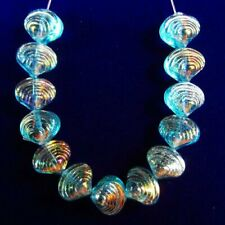13Pcs/set 9x8x7mm Carved Blue Titanium Crystal Shell Pendant Bead A14203