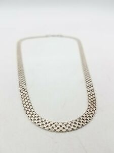 """925 Silver FAS Italy 1/4"""" Wide Mesh Necklace FC619"""