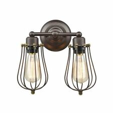Truelite Industrial Vintage Mini 2-Light Metal ORB Wall Sconce Wire Cage Lamp