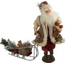 "24"" Victorian Fiber Optic Musical Santa with Sleigh Christmas Figurine Doll Qvc"