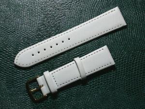 klassik echt Leder Uhrenarmband weiß seidenmatt 20mm breit, goldene Schlie.9837g