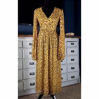NWT New $695 Saloni Camille Leopard Animal Shimmer Gold Silk Midi Dress Size 2