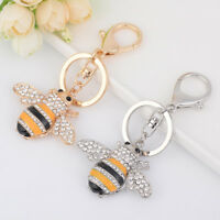 Metal Key Chain Exquisite Rhinestone Key Ring Handbag Bee Insect Shape Pendant