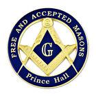 F&AM Prince Hall Round Masonic Auto Emblem - [Blue & Gold][3'' Diameter]