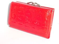 CROCODILE PRINT COWHIDE LEATHER LADIES MEDIUM CLUTCH WALLET HAND PURSE RED