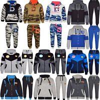 Boys Kids Army Camouflage Luxury Fleece Tracksuit Jogging Suit Bottom Hoodie