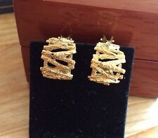 Gorgeous Vintage 9ct Yellow Gold Half Hoop Clip On Earrings FULLY HALLMARKED