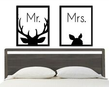 8 x 10in Set of 2 MR and MRS stag doe antler danish nordic wall art prints