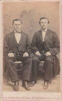 St Louis MO JA Seibert Photographer 1867 CDV Father & Adult Son w/Skinny Bowties