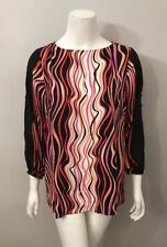 Bob Mackie Pink Black Squiggle Striped Tunic Blouse Size S