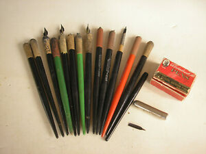 Vintage Calligraphy Pens, Box and Nibs (14)