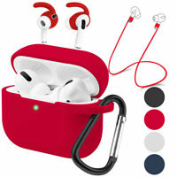 For Apple AirPods Pro 2019 Skin Silicone Case Shockproof Ear Hook Keychain Cover