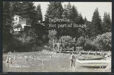 CA Rio Nido RPPC 1946 SWIMMING DOCK on RUSSIAN RIVER Kids at High Diving Board