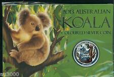 2013 $1 COLORIZED SILVER AUSTRALIA KOALA 1 Oz SEALED in ORIGINAL PERTH MINT CARD