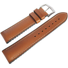 20mm Hirsch Performance James Mens Smooth Tan Leather Rubber Watch Band Strap