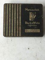 Vintage 1940's MARCOVITCH Black & White 20 Cigarettes Empty Tin NAAFI HM Forces
