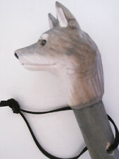 Hand Carved Wood Gray Wolf 5 ft walking stick Agave strong light weight