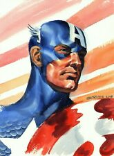 STEVE RUDE SIGNED 2018 CAPTAIN AMERICA PAINTING-9 X 12 ON BOARD!