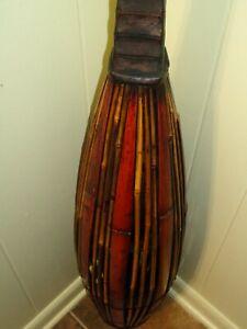 "Vtg 41"" Tall Floor Vase Bamboo Rattan Wood Neck Decorative Art Boho Tiki Decor"